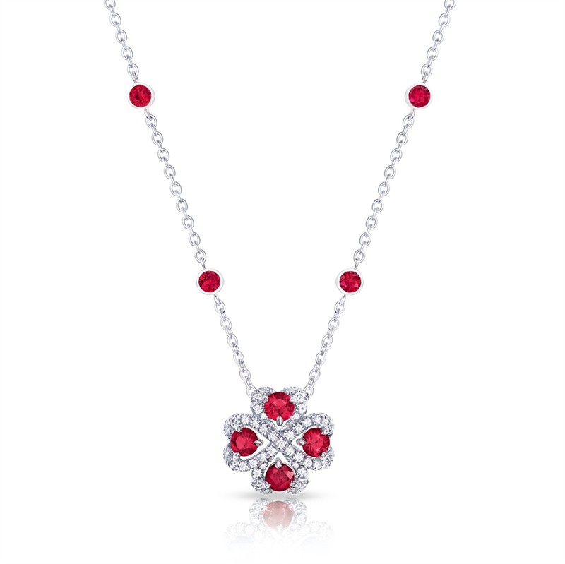 Quadrille White Gold, Diamond & Ruby Pendant | Fabergé