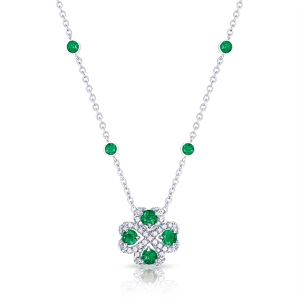 Quadrille White Gold Emerald & Diamond Pendant| Fabergé