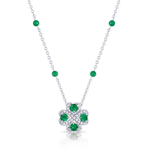 Quadrille White Gold Emerald & Diamond Pendant| Fabergé
