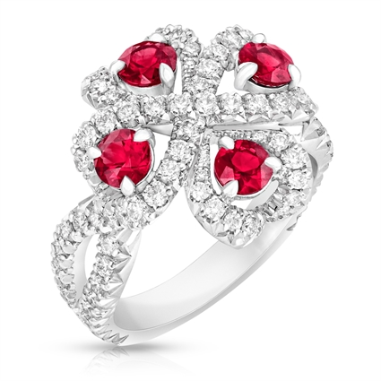 Quadrille White Gold Ruby & Diamond Ring I Fabergé