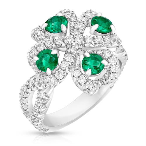 Quadrille 18K White Gold Diamond & Emerald Ring