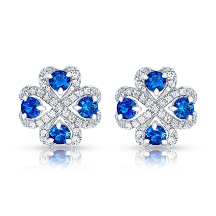 Quadrille White Gold Blue Sapphire & Diamond Stud Earrings | Fabergé
