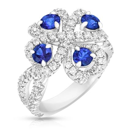 Blue Sapphire and Diamond Ring - Fabergé Quadrille Blue Sapphire Ring