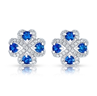 Quadrille White Gold Blue Sapphire & Diamond Stud Earrings | Fabergé