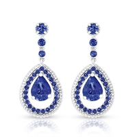 White Gold Blue Sapphire Fluted Teardrop Earrings | Fabergé