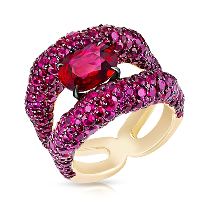 Ruby & Rose Gold Charmeuse Ring | Fabergé
