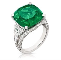 Emerald Cushion Cut Ring - Fabergé Emerald Cushion Cut 13.69ct Ring
