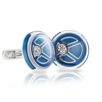 White Gold, White Diamond & Blue Brass Cufflinks | Fabergé
