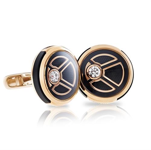 Diamond, Rose Gold and Black Brass Cufflinks | Fabergé