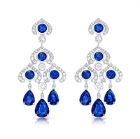 Blue Sapphire and Diamond Chandelier Earrings - Fabergé Blue Sapphire Chandelier Earrings