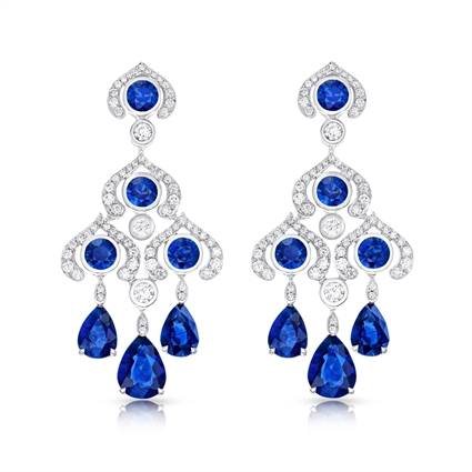 White Gold Blue Sapphire & Diamond Chandelier Earrings | Fabergé