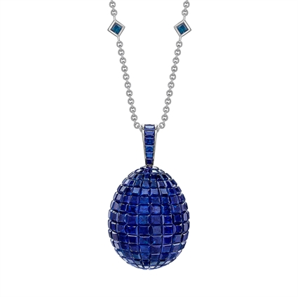 White Gold Blue Sapphire Egg Pendant | Fabergé