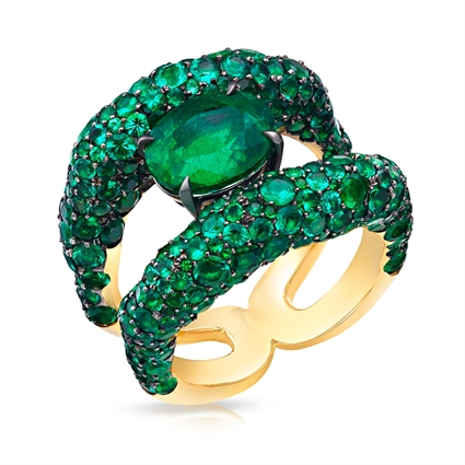 Charmeuse Emerald & Yellow Gold Ring | Fabergé