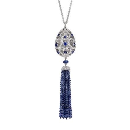 Fabergé Imperial Impératrice White Gold & Blue Sapphire Tassel Pendant I Fabergé