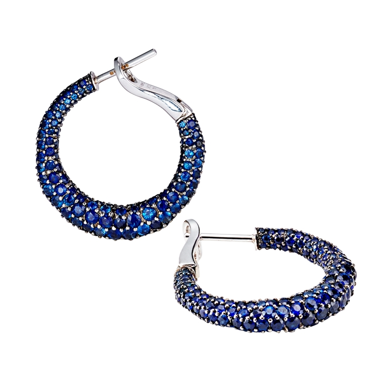Blue Sapphire Earrings - Fabergé Emotion Blue Sapphire Hoop Earrings