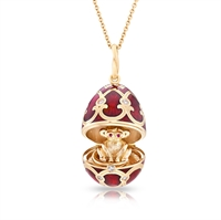 Fabergé Egg Locket Pendant - Palais Tsarskoye Selo Red Monkey Locket