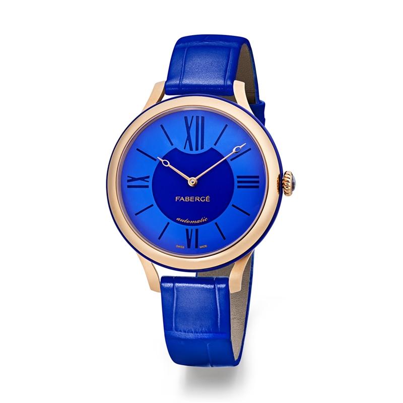 Fabergé Flirt Watch, 36 mm, in 18K Rose Gold - Blue Dial