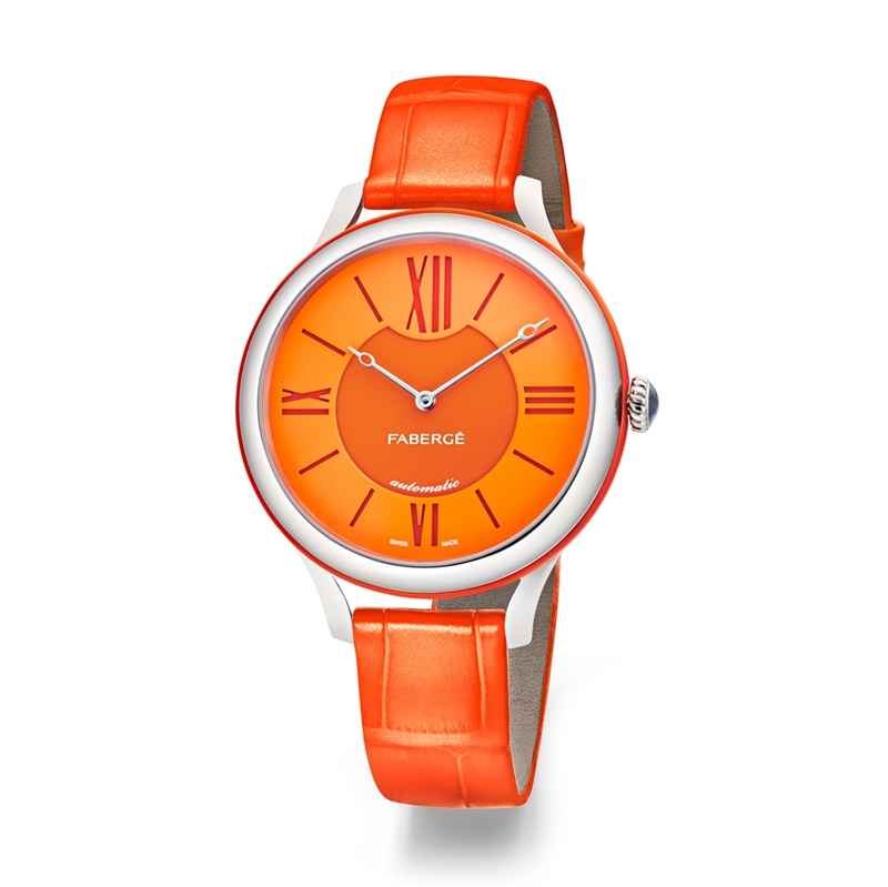 Ladies Watch – Fabergé Flirt 36MM 18 KARAT WHITE GOLD - ORANGE DIAL WATCH