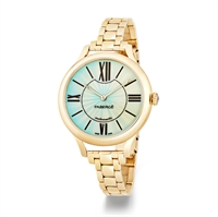 Yellow Gold Watch with Turquoise Dial - FABERGÉ FLIRT 36MM 18 KARAT YELLOW GOLD – TURQUOISE ENAMEL DIAL