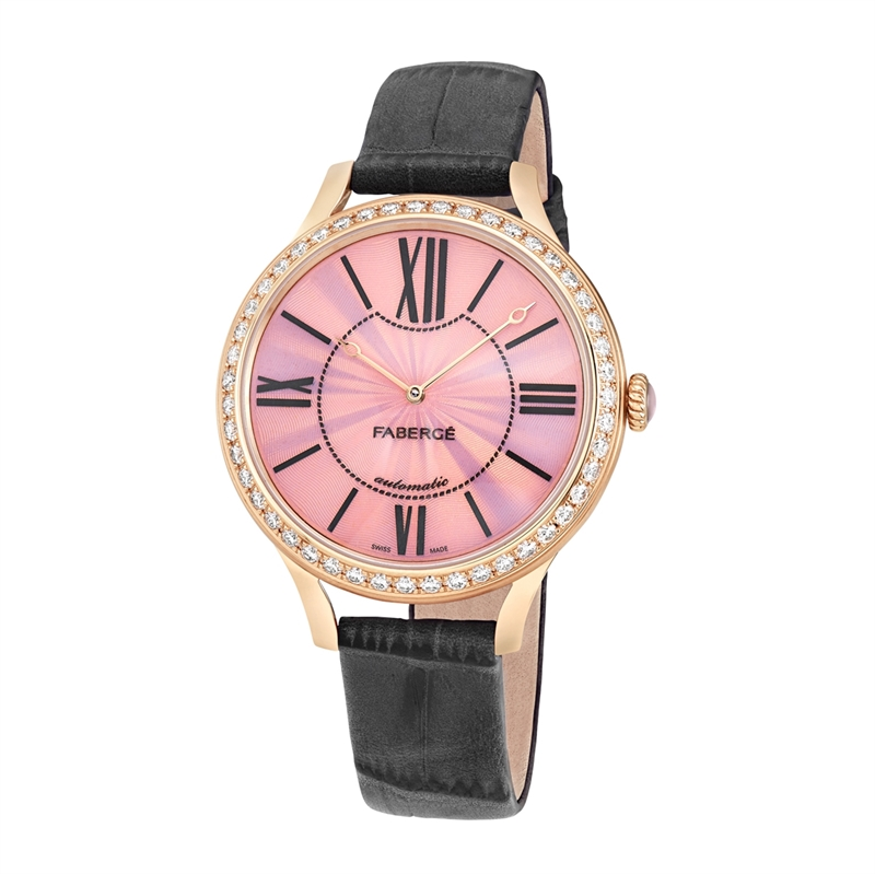 Women's Watch - Fabergé Flirt 39mm 18kt Rose Gold Watch – Pink Opalescent Enamel Dial