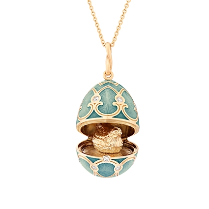 Yellow Gold Diamond & Turquoise Guilloché Enamel Hen Surprise Locket | Fabergé