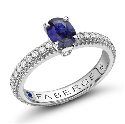 Sapphire, Diamond & Gold Fluted Engagement Ring | Fabergé