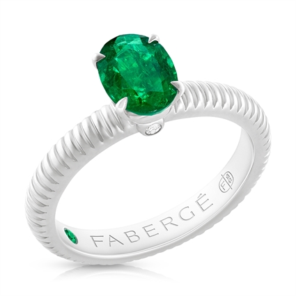 FABERGÉ Engagement Ring - Emerald White Gold Fluted Ring