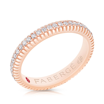 FABERGÉ Engagement Ring - Diamond Rose Gold Fluted Band