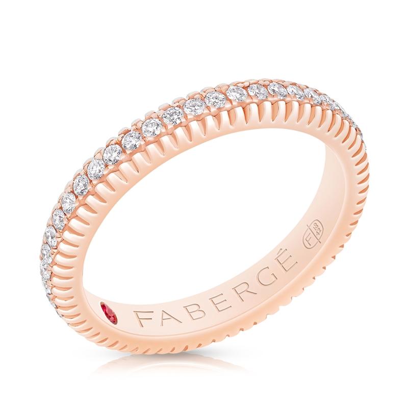 FABERGÉ Verlobungsring – Diamond Rose Gold Fluted Bandring