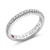 Ruby, Diamond & White Gold Fluted Engagement Ring | Fabergé