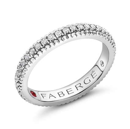 White Gold Band Ring With Diamonds