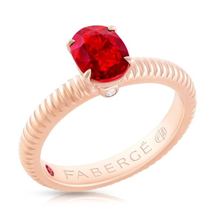 FABERGÉ Engagement Ring - Ruby Rose Gold Fluted Ring