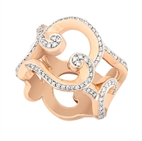 Diamond and Rose Gold Ring - Fabergé Rococo Pavé Diamond Rose Gold Ring