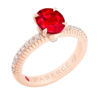 FABERGÉ Engagement Ring - Ruby with Diamond Pave Rose Gold Fluted Ring