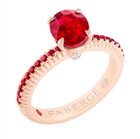 FABERGÉ Engagement Ring - Ruby with Ruby Pavé Rose Gold Fluted Ring