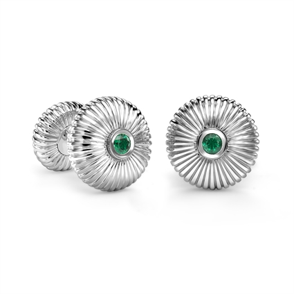 FABERGÉ Cufflinks – Emerald and White Gold Fluted Cufflinks