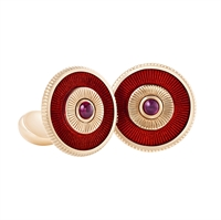 Ruby and Rose Gold Cufflinks - Fabergé Ruby Red Enamel Cufflinks