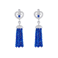 Sapphire and Diamond Earrings - Fabergé Impératrice Sapphire Tassel Earrings