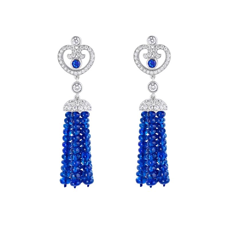 Sapphire and Diamond Earrings - Fabergé Impératrice Sapphire Tassel Earrings