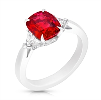 Ruby and Diamond Ring - Fabergé Ruby Cushion Cut 3.10ct Ring