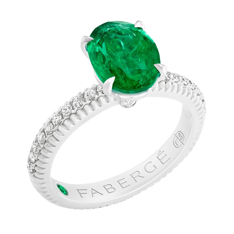 FABERGÉ Engagement Ring - Emerald with Diamond Pavé White Gold Fluted Ring