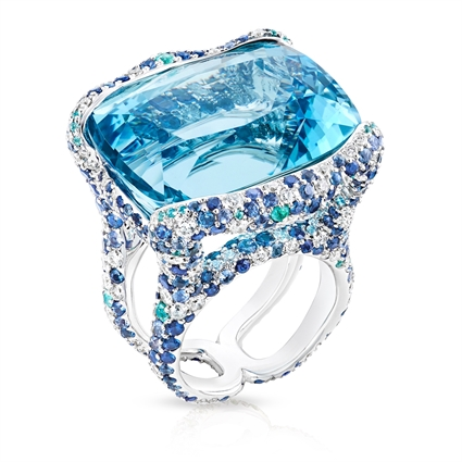 Emotion Katharina White Gold 39.70ct Aquamarine Ring With Diamonds & Blue Gemstones | Fabergé
