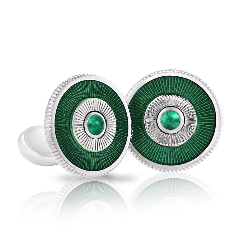 Emerald and White Gold Cufflinks - Fabergé Emerald Green Enamel Cufflinks