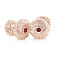 FABERGÉ Cufflinks – Ruby and Rose Gold Fluted Cufflinks