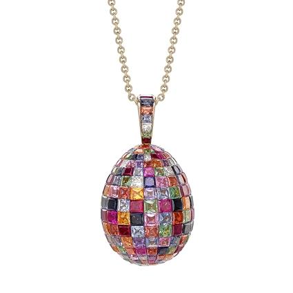 Fabergé Imperial Yellow Gold Mosaic Ruby, Sapphire & Diamond Egg Pendant