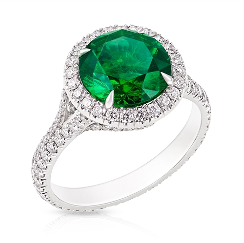 Demantoid Garnet Halo Ring