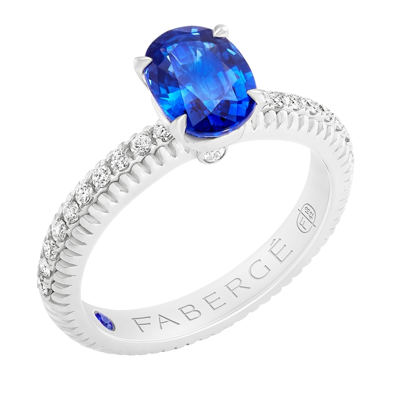 FABERGÉ Engagement Ring - Sapphire with Diamond Pavé White Gold Fluted Ring