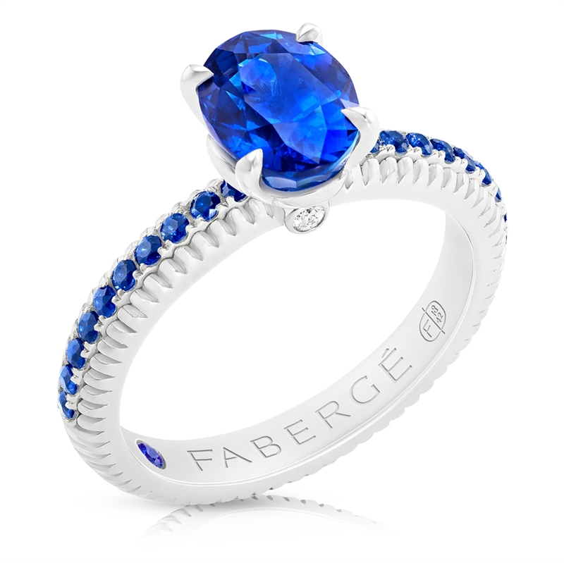 FABERGÉ Engagement Ring - Sapphire with Sapphire Pavé White Gold Fluted Ring