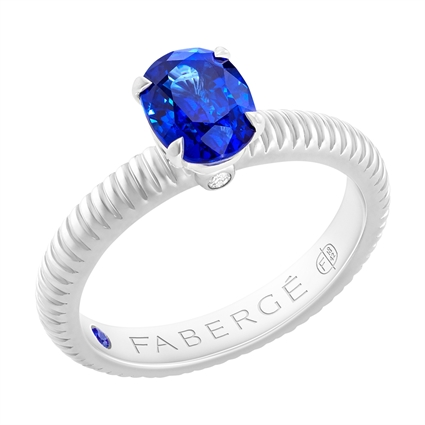 FABERGÉ Engagement Ring - Sapphire White Gold Fluted Ring