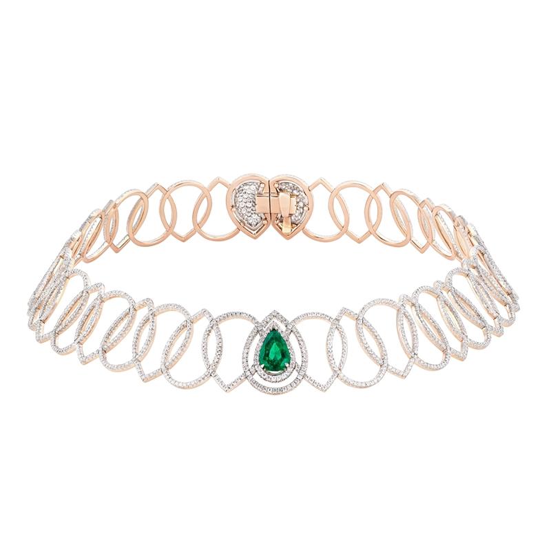 Rose Gold Pear Cut Emerald & Diamond Necklace   Fabergé